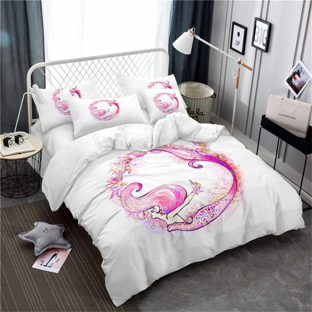 *** Pink Mermaid Single Bed Quilt Cover Set Flat or Fitted Sheet ***
