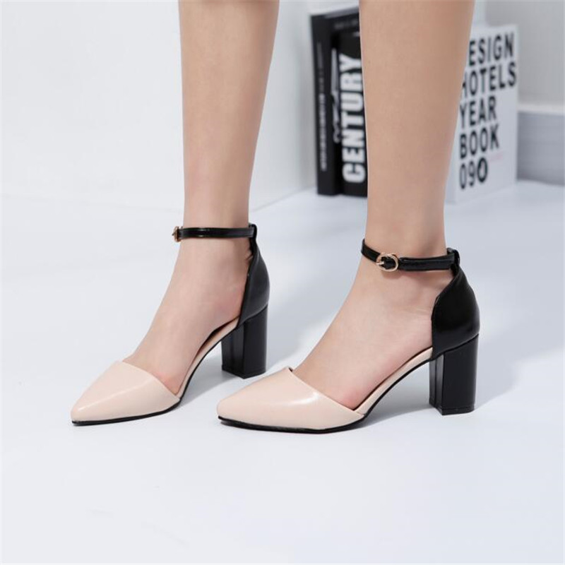 Fashion Girls Leather Shoes Womens High Thin Heels Sexy Party Genuine Leather Ankle Strap Buckle Wedding Ladies Student Shoes