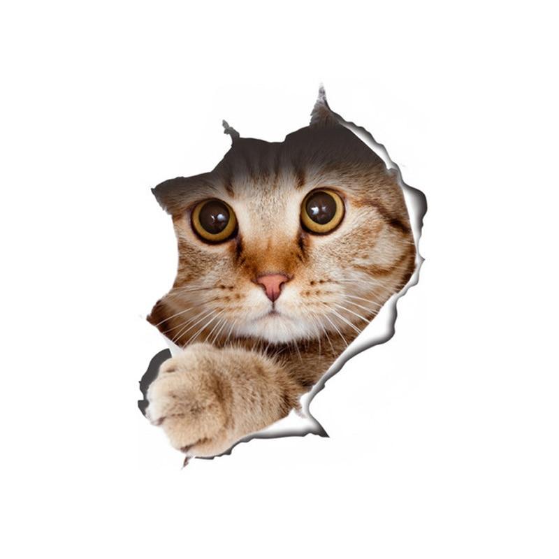 Купить с кэшбэком Vinyl waterproof Cat Dog 3D Wall Sticker Hole View Bathroom Toilet Living Room Home Decor Decal Poster Background Wall Stickers