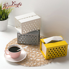 Creative Iron Hollow Tissue Box Paper Napkin Case Holder Home Desktop Car Napkins Holder Case Organizer Home Decoration