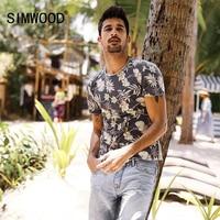 SIMWOOD 2017 Summer T Shirt Men Slim Fit 100 Pure Cotton Print Curl Hem New Fashion
