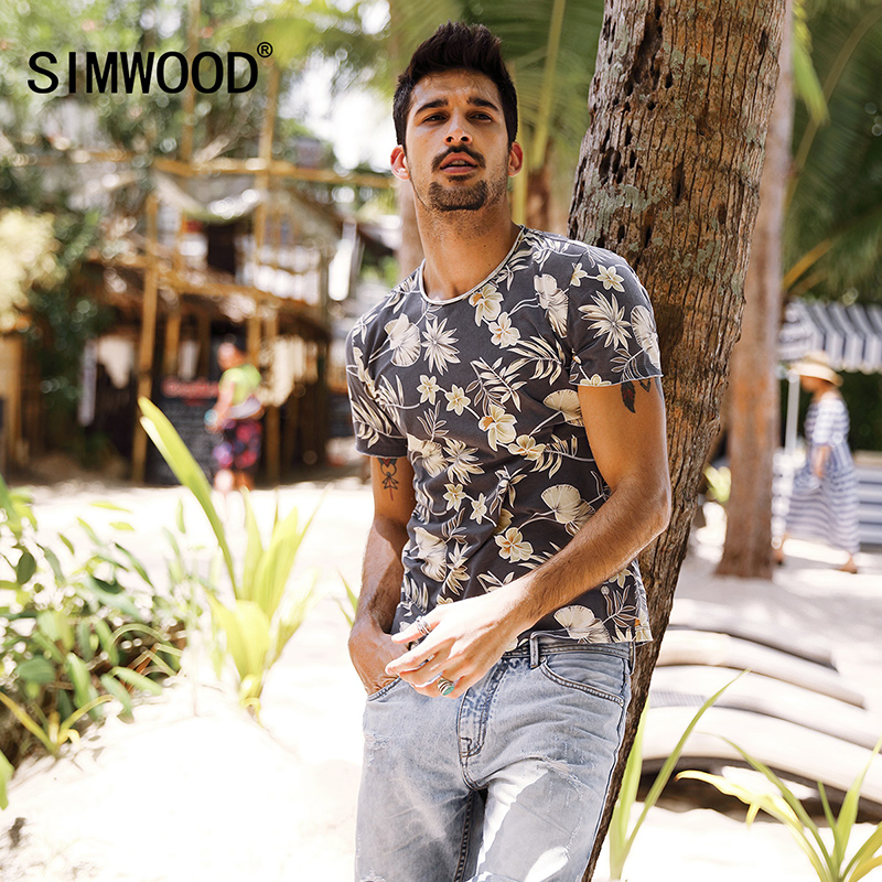 SIMWOOD 2019 Summer   T     Shirt   Men Slim Fit 100% Pure Cotton Print Curl Hem New Fashion Floral Brand Clothing Plus Size TD017087