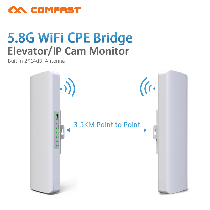 2pcs 5.8Ghz COMFAST 300mbs wireless bridge outdoor CPE wifi router repeater for ip camera 3-5km Wi -fi range amplifier CF-E312A comfast original indoor ap wi fi repeater 1200mbps wireless n router 2 4 5 8g wifi repeater bridge long range extender booster