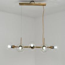 Modern Glass Design Chandelier Lighting Living Room Kitchen Dinning Loft E27 Lamp Copper Lustre Decor Home Light Fixtture