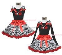 Saint valentin coeur rouge étincelle d'amour noir Top Red Zebra jupe tenue 1-8Year MAPSA0355