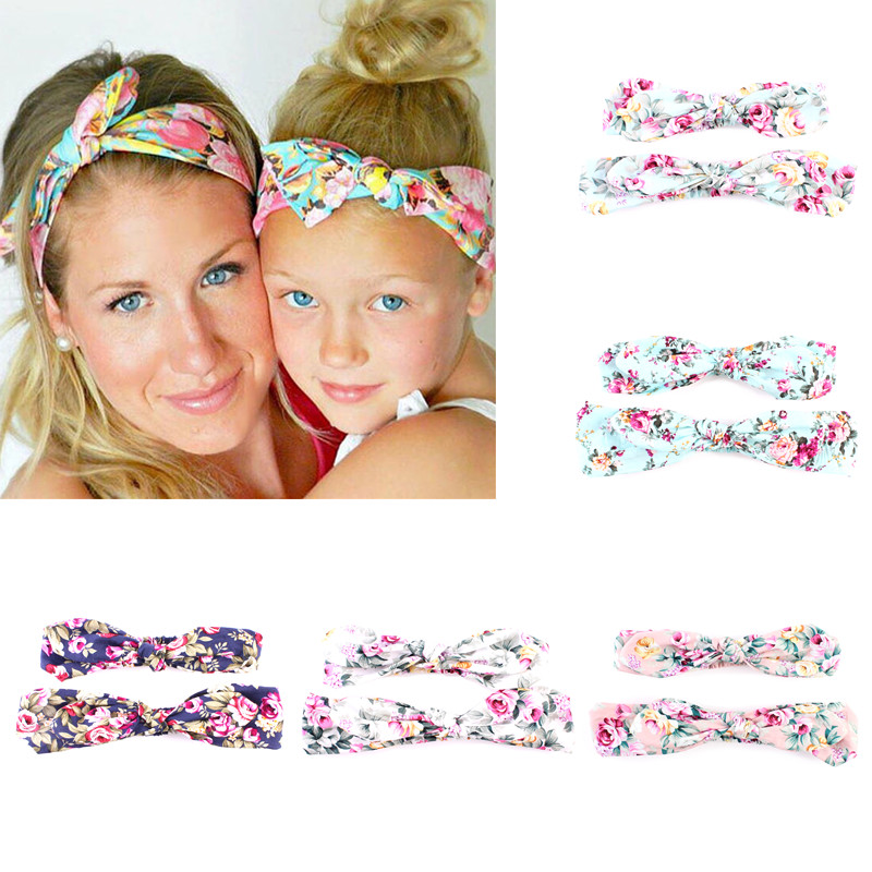 2Pcs/Set Mom Baby Rabbit Ears Hair Ornaments Bow Knot Print Flowers Baby Headband Cotton Hairbands Hair Accessories knotted bow gingham headband 2pcs