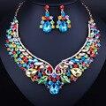 Свадебные Ювелирные Изделия позолоченные Кристалл Ожерелье и Серьги для Женщин Элегантные Свадебные Ювелирные наборы