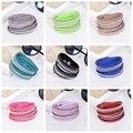 Leather Bracelet Rhinestone Crystal Bracelet Double Wrap Multilayer Bracelets for Women Pulseras Mulher Fashion Jewelry