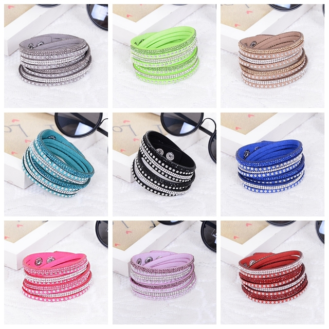 Leather Bracelet Rhinestone Crystal Bracelet Double Wrap Multilayer Bracelets fo