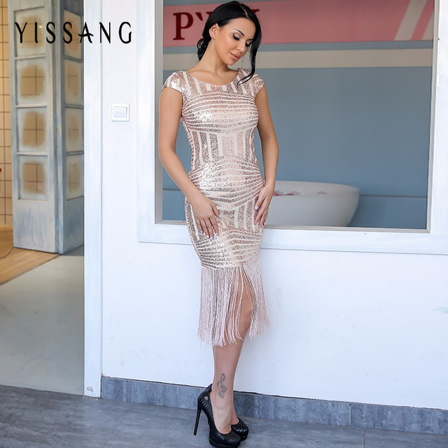 Yissang 2018 Fashion Tassel Women Midi Dress Sleeveless V Back Dresses  Party Club Strapless Sequin Dresses 60c1fb6ecf7a