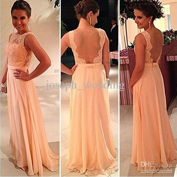 2017 Newest High quality nude back chiffon lace long peach color for sale cheap bridesmaid dress brides maid dress