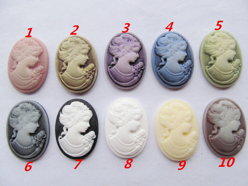 20pcs 18mmx25mm 10 Colors Oval Flatback Resin Beauty Head Lady Cameo Charm Finding,Phone Decoration Kit,DIY Accessory Jewellry
