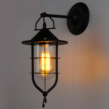 American Industrial Country Retro Wall Lamp Dock Iron Bar Coffee Wall Light Outdoor Indoor Wall Sconce metal indoor lighting