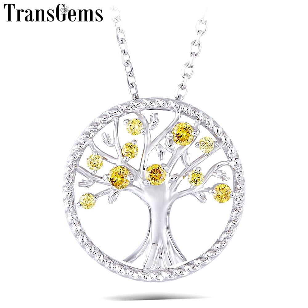 Transgems Jaune Diamant CVD 18 k 750 Or Blanc Diamant Pendentif Collier pour les Femmes Cadeau De Mariage Arbre En Forme de Pendentif Lien chaîne