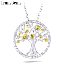 Transgems Yellow HPHT Diamond 18K 750 White Gold Pendant Necklace for Women Wedding Gift Tree Shaped Link Chain