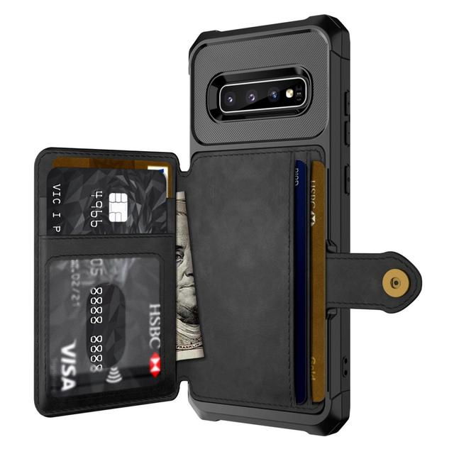 for Samsung Galaxy S10 Plus S10e Note 9 Credit Card Case PU Leather Flip Wallet Photo Holder Hard Back Cover For Galaxy S10 Plus