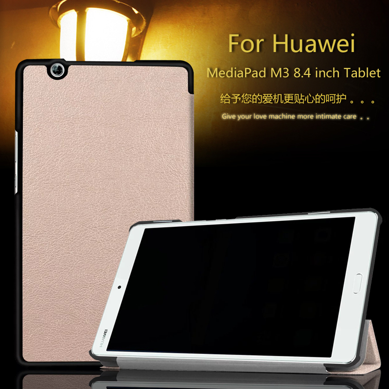 Ultra Slim Custer PU Leather Magnetic Shell Cover Case For Huawei MediaPad M3 BTV-W09 BTV-DL09 8.4 inch tablet + Film + Stylus
