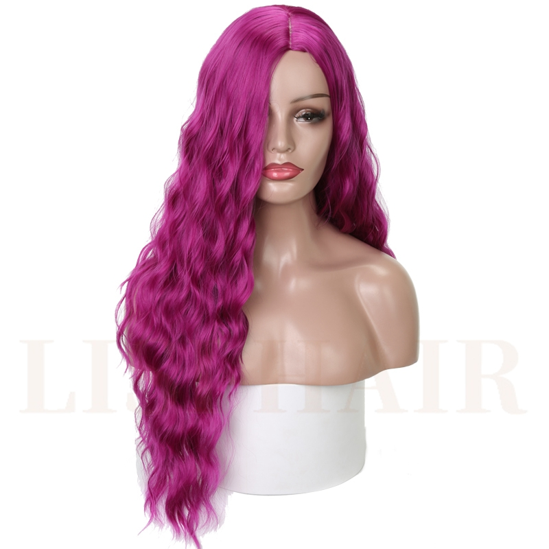LISI HAIR Long Purple Black Water Wave Wigs For Black Women Synthetic Hair High Temperature Fiber