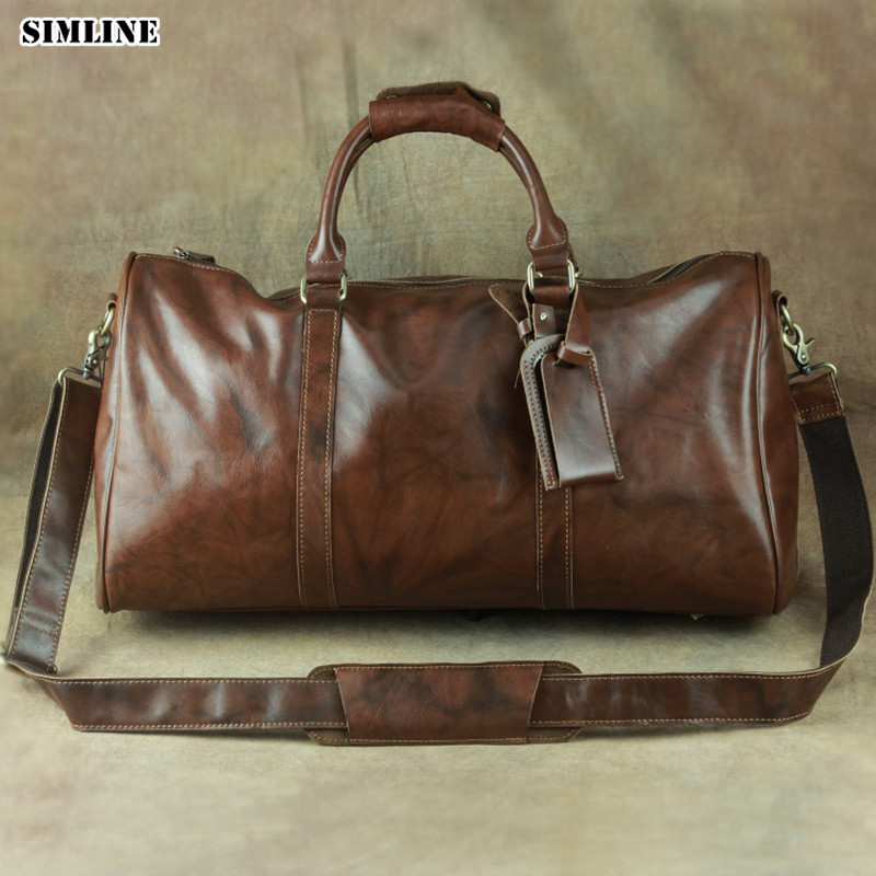 SIMLINE Genuine Leather Travel Bag Big Men Real Cowhide Vintage Large Capacity Male Handbag Shoulder Hand Luggage Bags For Male simline vintage genuine crazy horse leather cowhide men large capacity travel duffle bag shoulder luggage bags handbag for men
