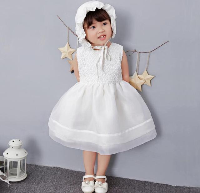 b9eb5e78bed 1PC Off White Red Baby Girl Tree Pattern Lace Dresses Princess Wedding  Party Christening Gown Dress for Newborn Baptism with Hat