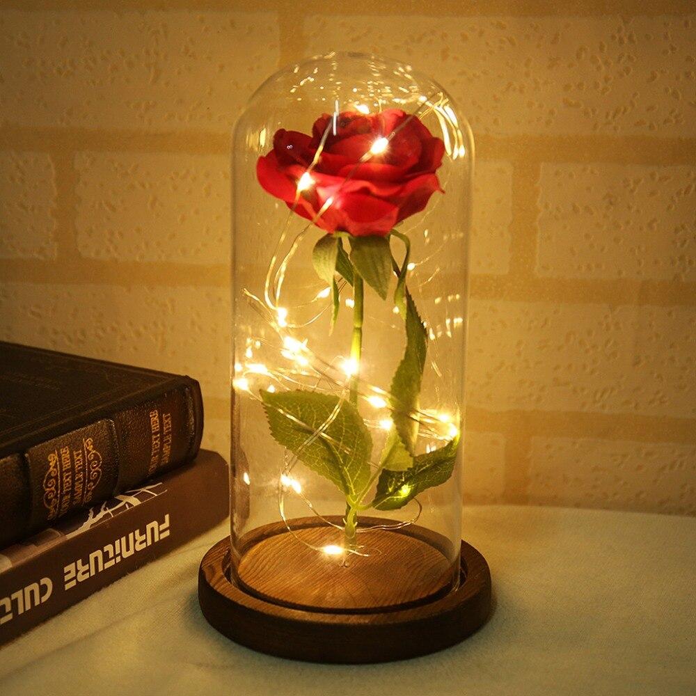 Beauty and the Beast Rose Red em uma Cúpula De Vidro sobre uma Base De Madeira para Presentes Dos Namorados LED Rose lâmpadas de Natal
