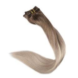 Volledige Shine Clip in Balayage Blonde Kleur Hair Extensions Volledige Hoofd 10 Pcs 100g Per Pakket 100% Remy Haar dubbele Inslag Clip Ins
