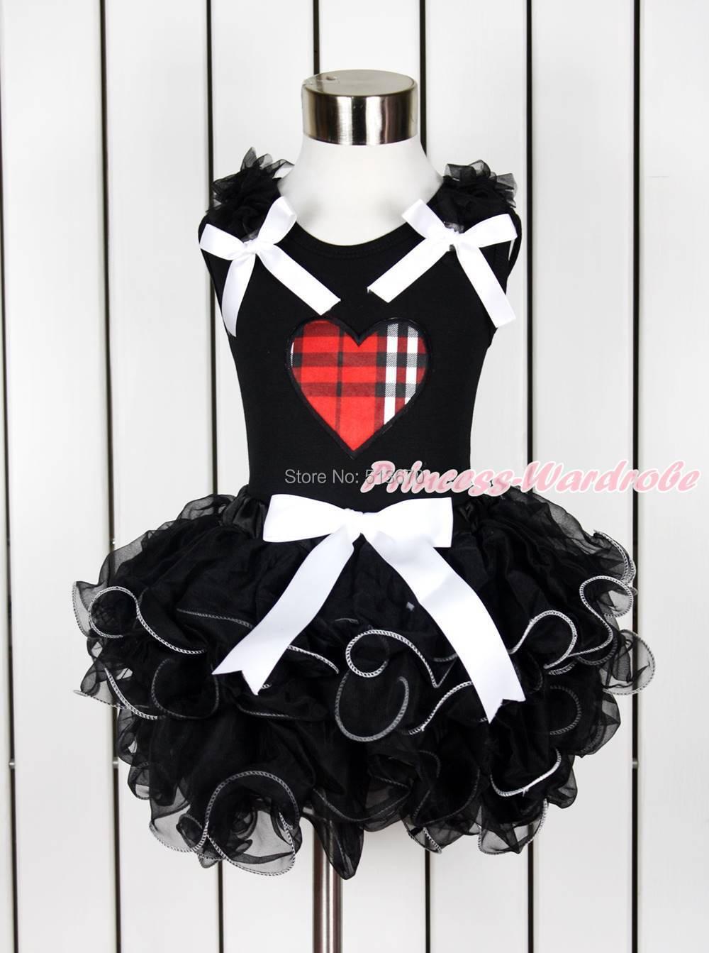 Valentine Black Red Plaid Heart Girl Black Pettitop Black Petal Pettiskirt NB-8Y MAPSA0123