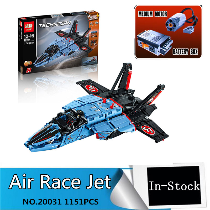 Free Shipping LEPIN 20031 1151pcs new Technic Series The jet racing aircraft Model Building Kits  Brick Toy Compatible 42066 lepin 20031 technic the jet racing aircraft 42066 building blocks model toys for children compatible with lego gift set kids