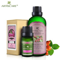 ARTISCARE Rose Essential oil + Rose Hip Base Oil Whitening Fade Spots Sets Repair Wrinkles Scars Anti Aging body Massage oils