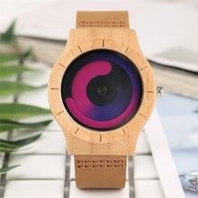 Nya Trä Klockor Senaste Kreativa Design Kvinnor Quartz Armbandsur Äkta Bambu Kvinna Klocka Swirl Dial Relogio Masculino