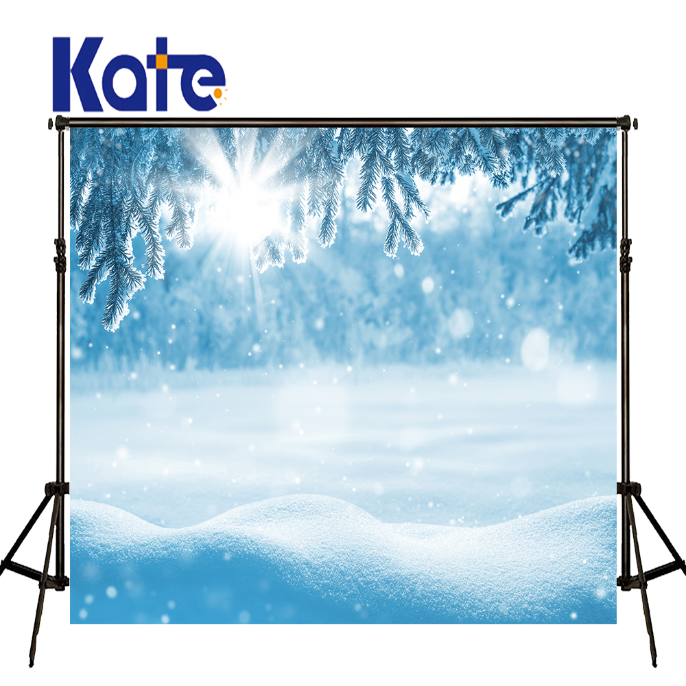 KATE Christmas Backdrops Winter Backdrops Blue Snow Spot Scenery Photography Background Pine Branch Forest Studio Backdrop