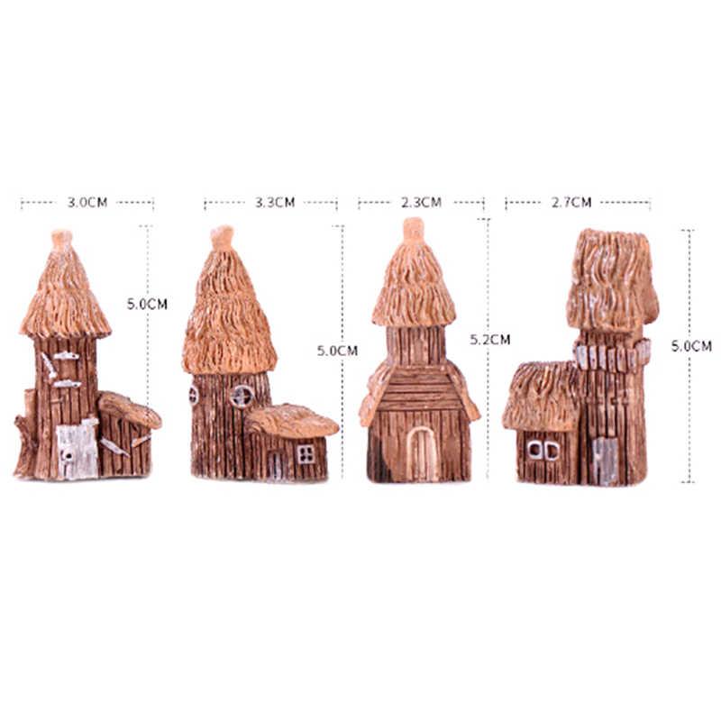 Bonito mini mundo paisagem ornamentos acessório casa em miniatura para crianças giftresin modelo para casa de boneca decoração do jardim