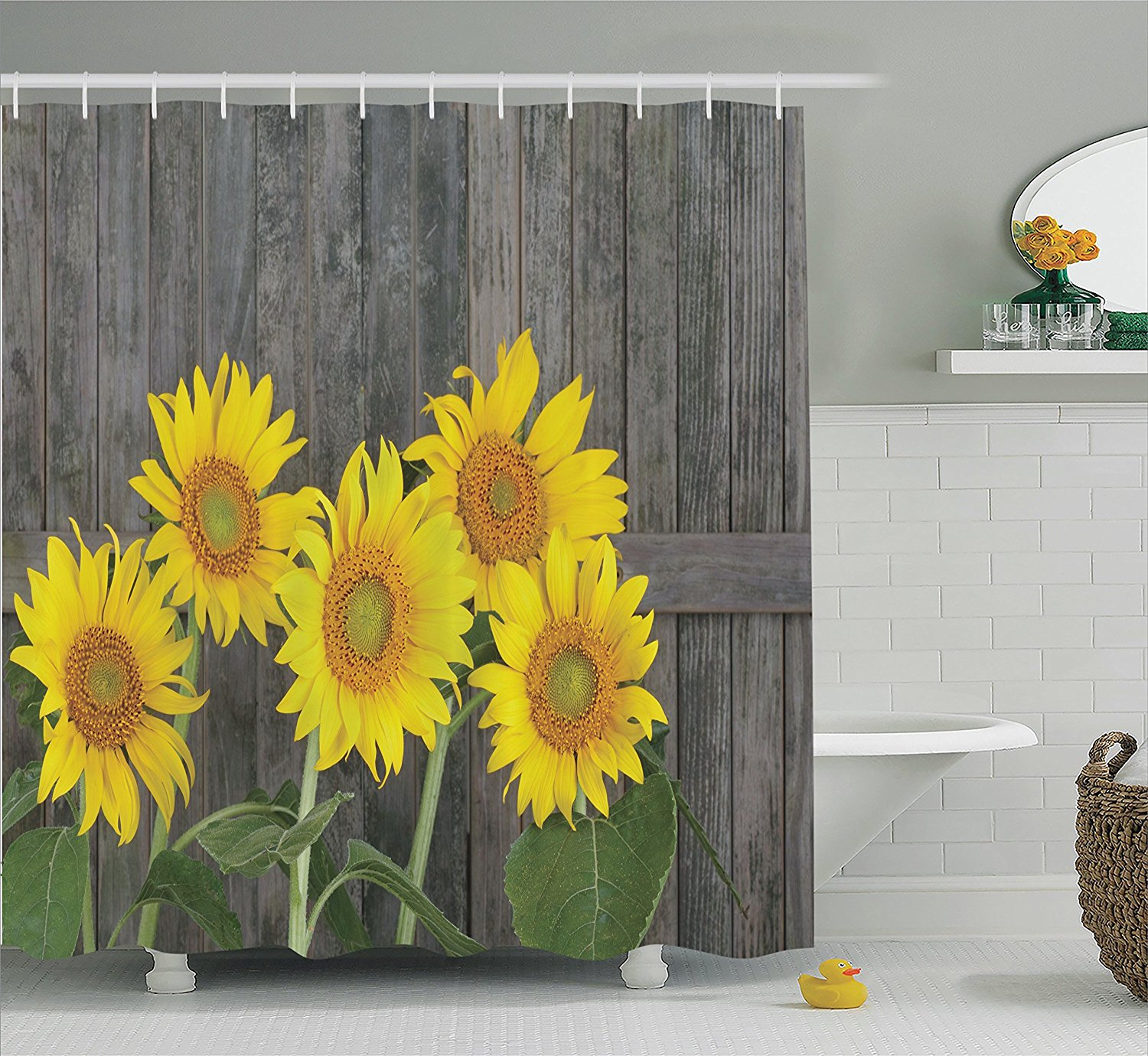 Sunflower shower curtain hooks - Warm Tour Helianthus Sunflowers Fashion Shower Curtain Polyester Curtain Hotel Bathroom With Hooks Ring72 X72 Inch