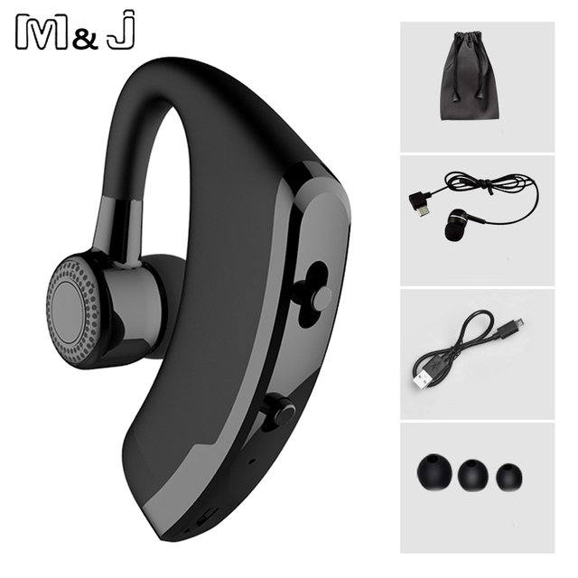 M & J V9 Handsfree Negócios Bluetooth Headset Com Mic Controle de Voz Sem Fio Bluetooth Fone De Ouvido Para A Unidade Com Cancelamento de Ruído