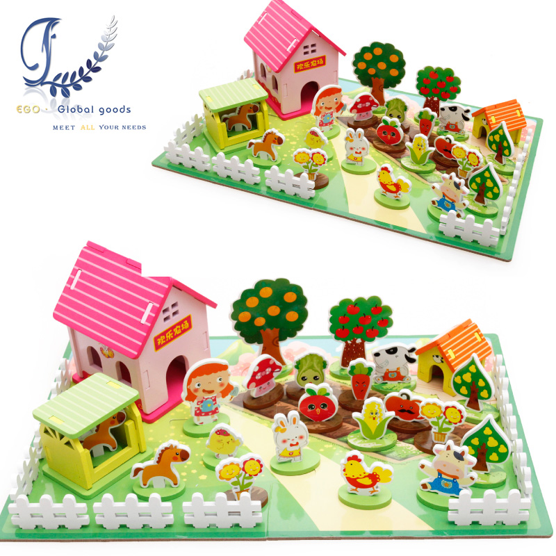 Happy Farm 3D Wooden Puzzles Kids Toys Educational Toys Children Wooden Puzzle Toy Games Containers Zoo Family Montessori Toys led 3d puzzle toys l503h empire state building models cubicfun diy puzzle 3d toy models handmade paper puzzles for children