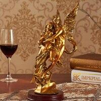 Resina estilo Europa queda no amor ângulos de ouro enfeites de artesanato 15x12x30 cm  mobiliário de decoração para casa presente de aniversário a2406