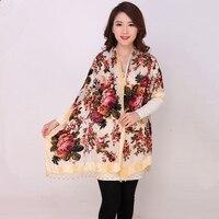 عالية الجودة الزهور الصينية الإناث المخملية الحرير مطرز شالات اليدوية والتطريز والأوشحة وشاح طويل هامش الباشمينا سرق شال