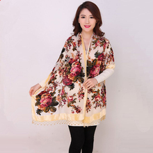 High Quality Flowers Chinese Female Velvet Silk Beaded Shawls Handmade Embroidery Scarves Scarf Long Fringe Pashmina Stole Chal