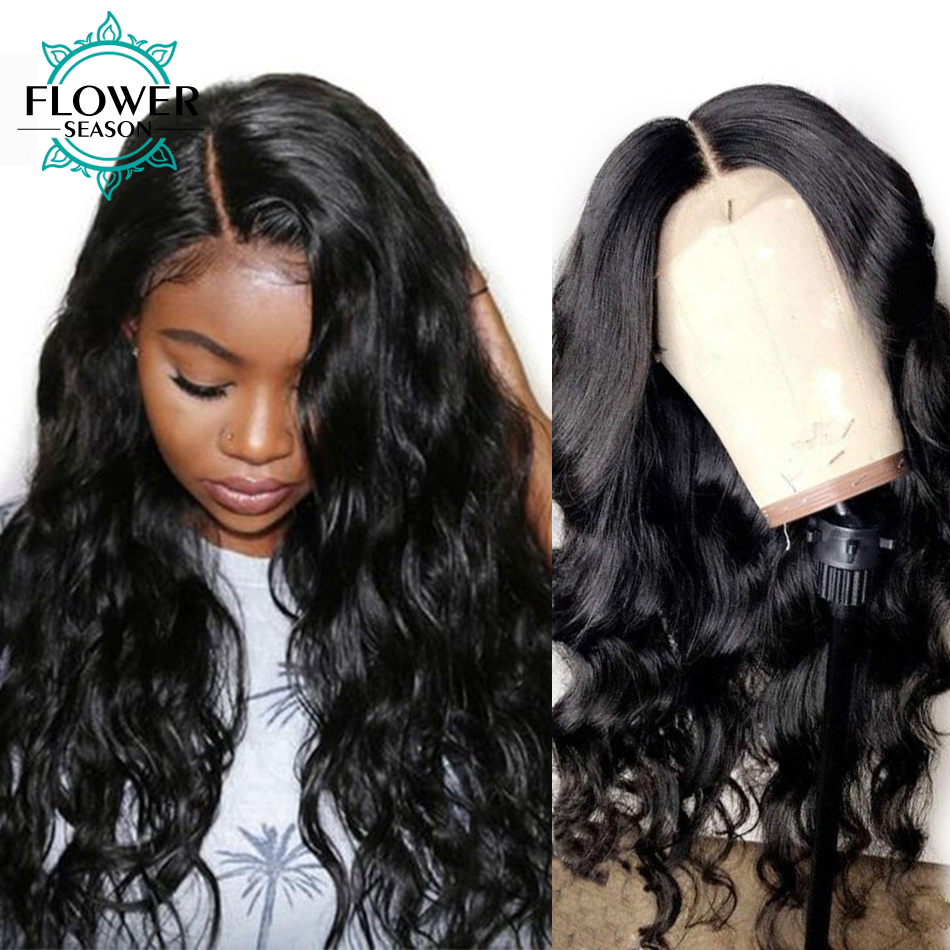 Long Wavy Glueless Lace Front Human Hair Wigs Indian Remy Hair For Women #1 Jet Black Hair Color 130% density FlowerSeason-in Human Hair Lace Wigs from Hair Extensions & Wigs