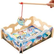 2017 New 3 Types 1 Pcs Baby Educational Toys Fish Wooden Magnetic Fashing Toy Set Game Fashing New Year Gift Puzzles Toys Xmas
