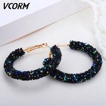 Pendientes de gota grandes de cristal redondos coreanos VCORM para mujer moda femenina Vintage diamantes de imitación de oro mujeres pendientes colgantes 2019 joyas