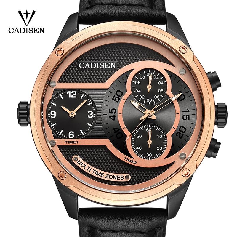 где купить 2017 New Luxury Brand CADISEN Men Watch Quartz Watches Big Design Dual time zone Casual Military Waterproof Wristwatch relogio по лучшей цене
