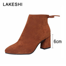 LAKESHI New Women Boots Flock Ankle Boots Women Winter Warm Women Boots High heels Women Stretch Fabric Boots Big Size 35-45(China)