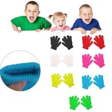 Милые зимние перчатки для маленьких мальчиков и девочек, одноцветные тянущиеся вязаные варежки#0712