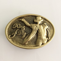 Retail New Style High Quality Oval Solid Brass Cowboys Belt Buckle For 4cm Wideth Belt Fashion