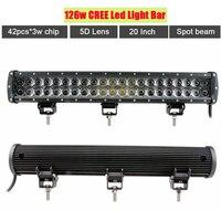 20 Inch 126w Led Light Bar Dual Row Work Driving Lamp 5D Lens Spot Beam Offroad