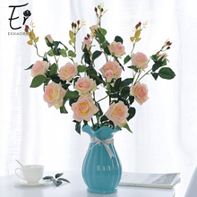 Erxiaobao 94 CM 3 Heads Pink Red White Rose Artificial Flowers Fake Silk Real Touch Flower Home Table Party Wedding Decor