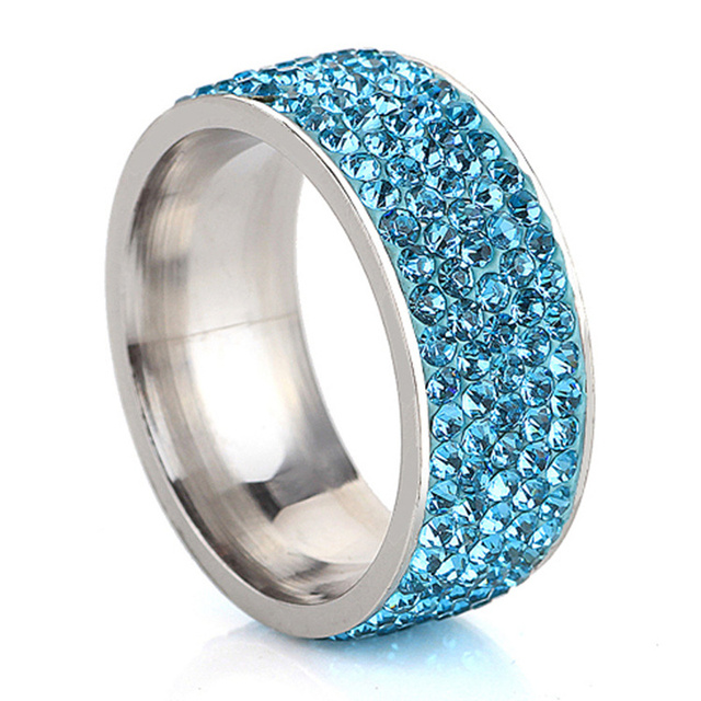 SHUANGR 5 Row Lines Luxury CZ Crystal Clear Blue Purple Gold Color Rings For Women Stainless Steel Ring Jewelry bijoux femme