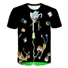 цена на marca Rick y Morty T camisa de los hombres Anime camiseta chino 3d impreso camiseta Hip Hop Tee Mens ropa nuevo Top de verano