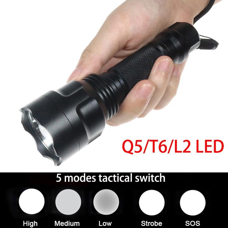 Funcional 5 modo interruptor linterna C8 antorcha de emergencia Q5/T6/L2 LED autodefensa flash luces lámpara Super Power Focos